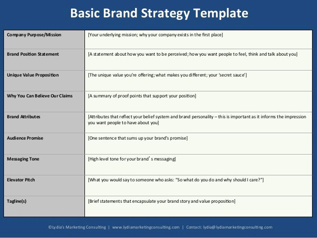 Simple Strategic Plan Template Best Of Basic Brand Strategy Template for B2b Startups