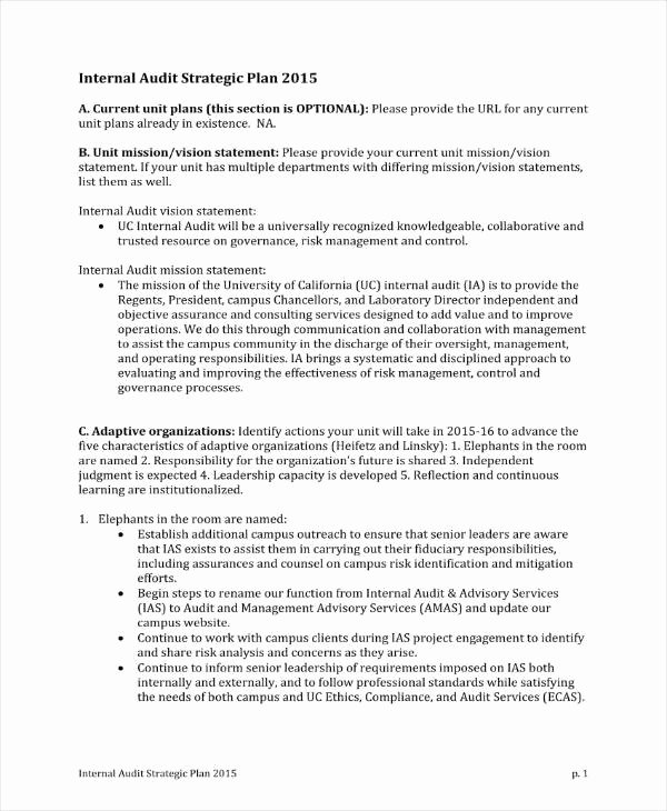 Simple Strategic Plan Template New 4 Audit Strategic Plan Templates Pdf Word