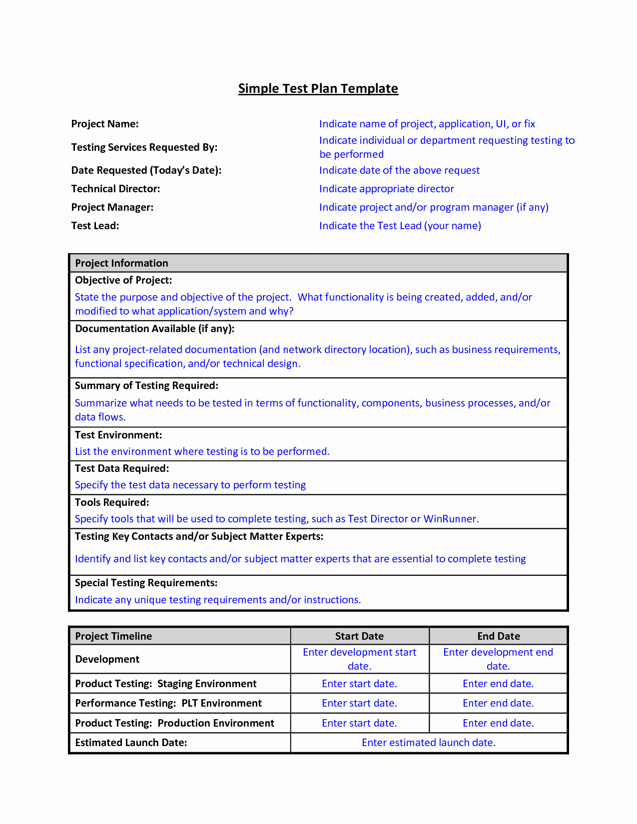 Simple Test Plan Template Beautiful Test Plan Template format Sample Work Word Simple