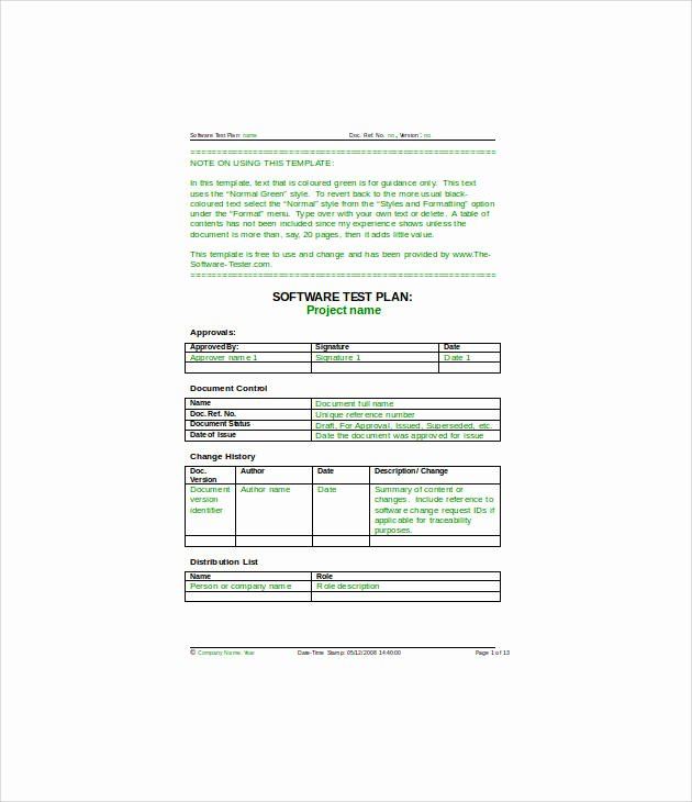Simple Test Plan Template New 13 Simple Test Plan Templates Pdf Word