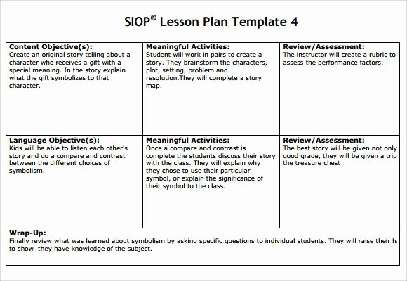 Siop Lesson Plan Template 1 Awesome 8 Siop Lesson Plan Templates Download Free Documents In