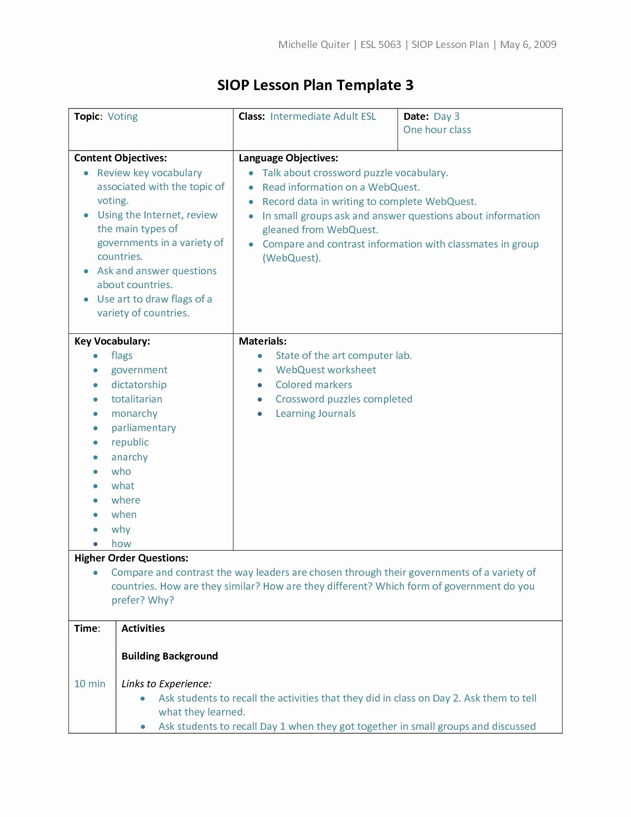 Siop Lesson Plan Template 1 Beautiful Siop Lesson Plan Template