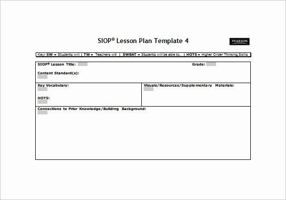 Siop Lesson Plan Template 1 Elegant Siop Lesson Plan Template Doc Intricutlaser
