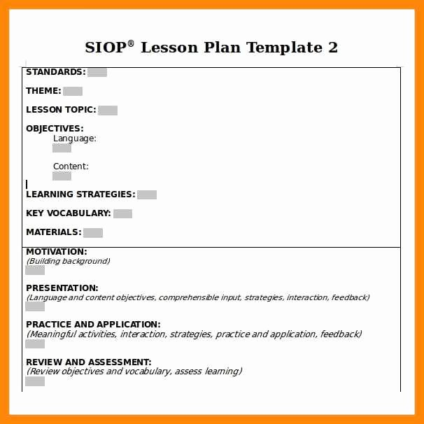 Siop Lesson Plan Template 1 Fresh 9 10 Siop Lesson Plan Template