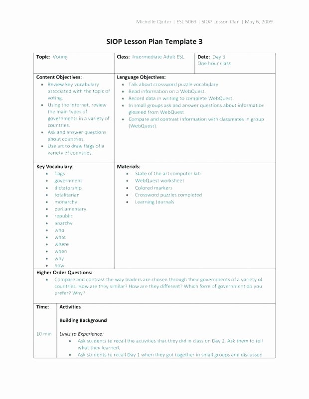 Siop Lesson Plan Template 1 Inspirational Siop Lesson Plan Template 2 Awesome Siop Lesson Plan