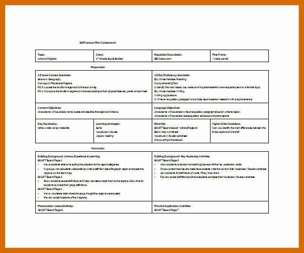 Siop Lesson Plan Template 1 New 7 8 Siop Lesson Plan Example