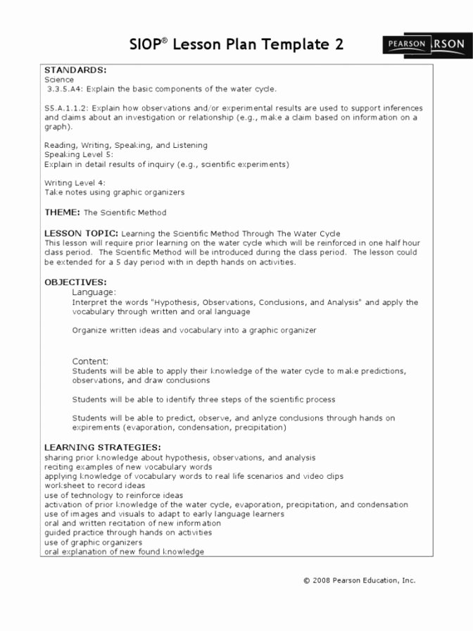 Siop Lesson Plan Template 2 Luxury 30 Unique Stock Siop Lesson Plan Template 2