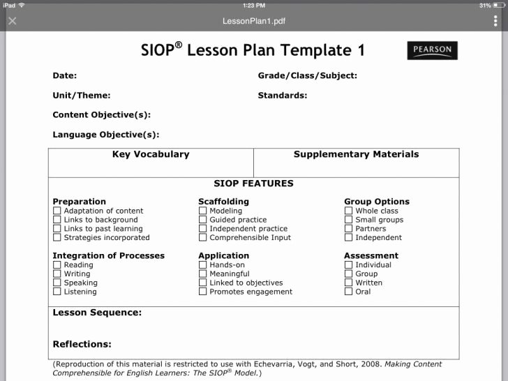 Siop Lesson Plan Template 2 New Sample Siop Lesson Plan Template