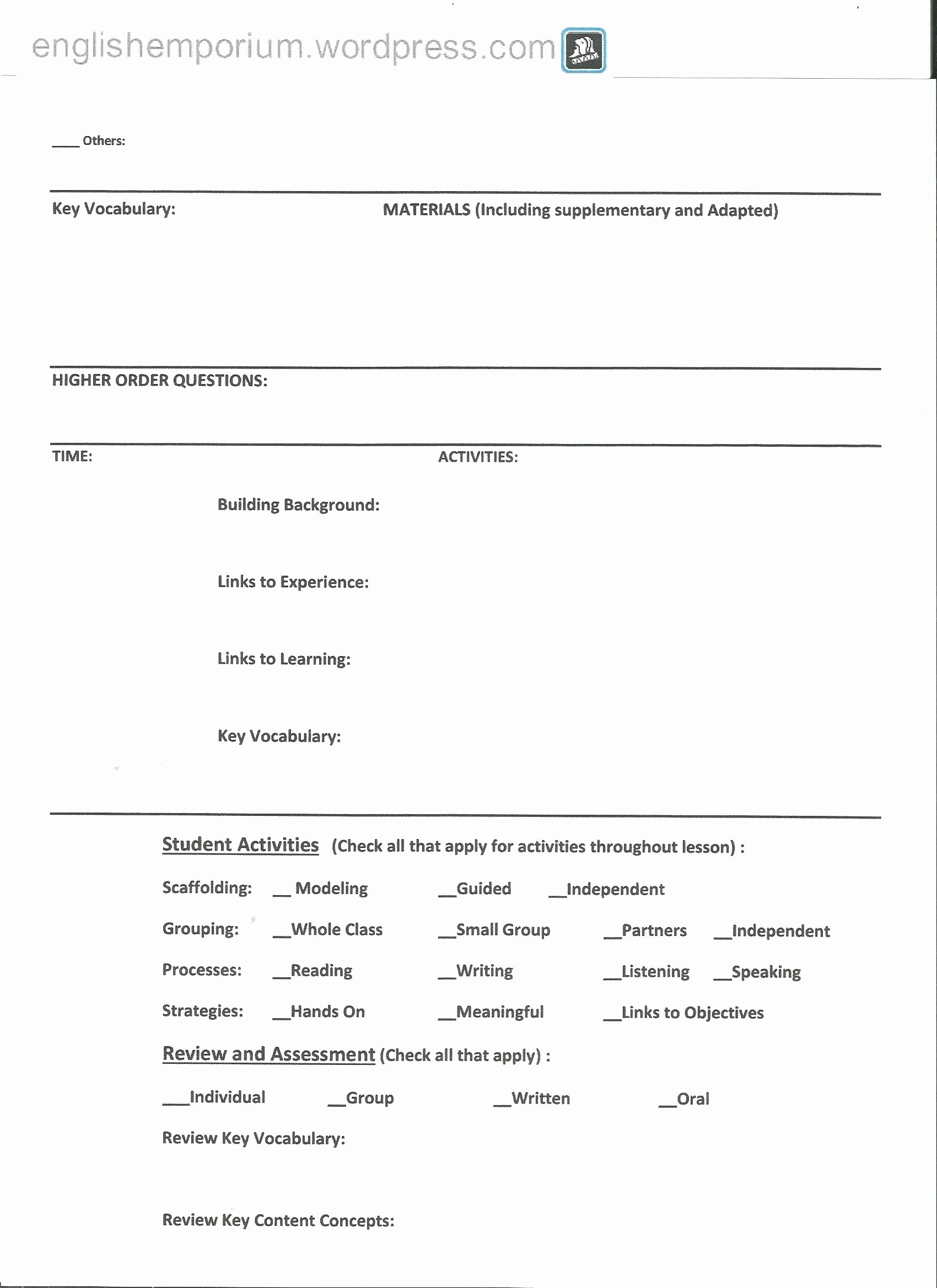 Siop Lesson Plan Template 3 Beautiful Siop Lesson Plan Example 2nd Grade for First