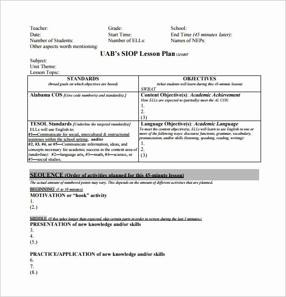 Siop Lesson Plan Template 3 Beautiful Siop Lesson Plan Template Free Word Pdf Documents