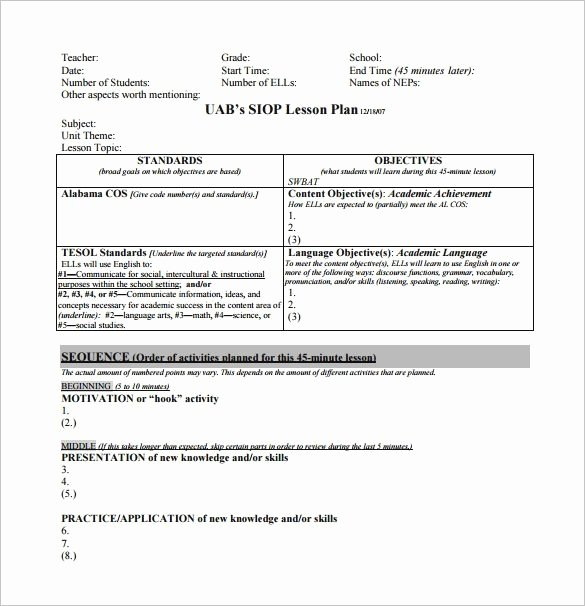 Siop Lesson Plan Template 3 Inspirational Siop Lesson Plan Template 3 Word Document