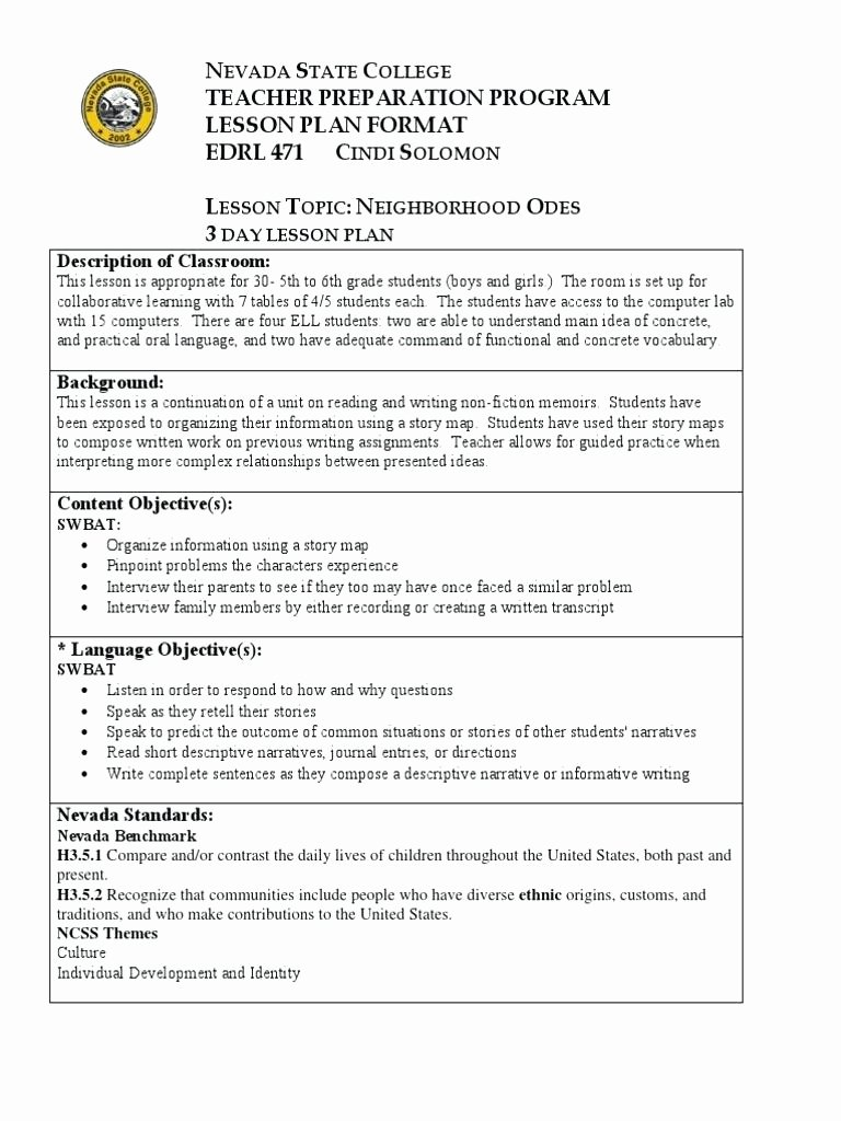 Siop Lesson Plan Template 3 New Siop Lesson Plan Examples First Grade Full Size Lesson