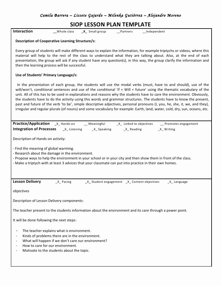 Siop Lesson Plan Template Awesome Siop Unit Lesson Plan Template Sei Model