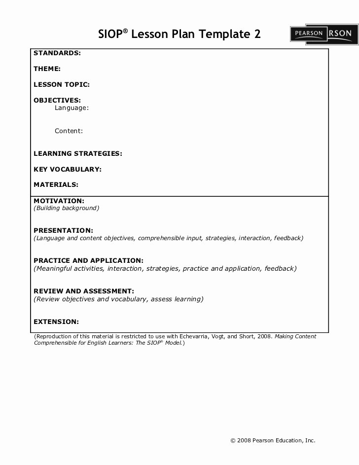 Siop Lesson Plan Template Elegant Siop Lesson Plan Template2
