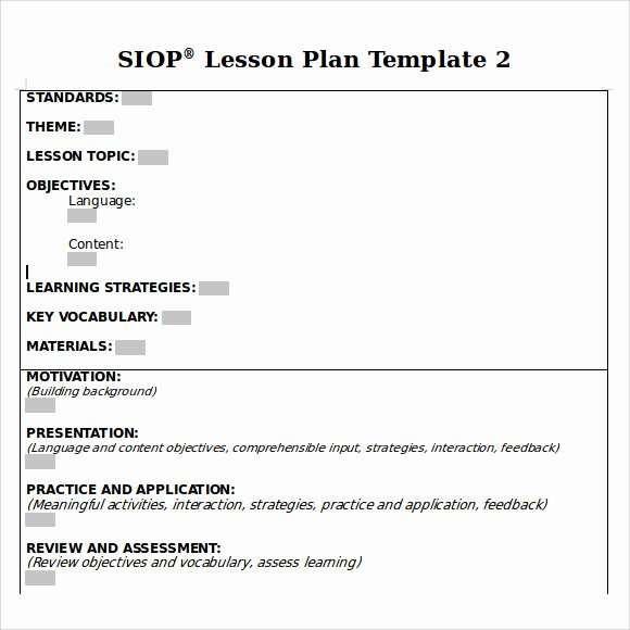 Siop Lesson Plan Template Fresh Sample Siop Lesson Plan 9 Documents In Pdf Word