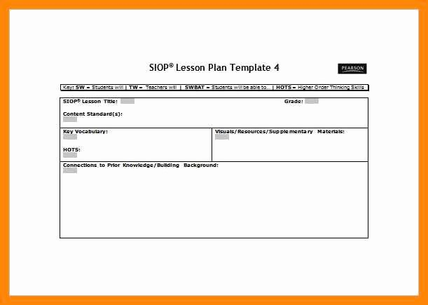 Siop Lesson Plan Template Inspirational 9 10 Siop Lesson Plan Template