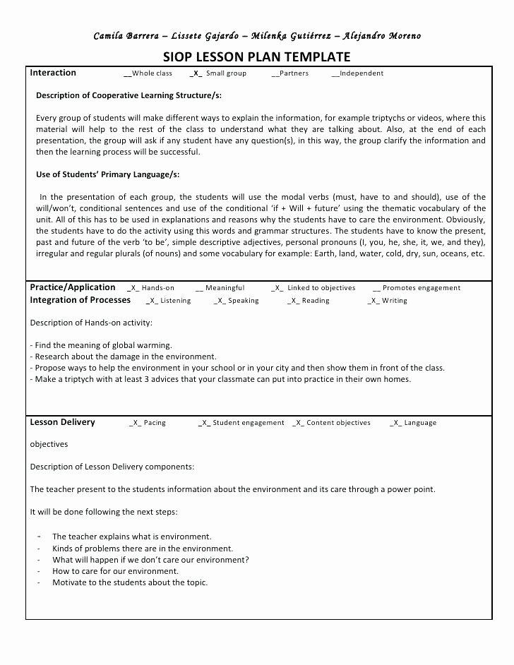 Siop Model Lesson Plan Template Beautiful Esl Reading Lesson Plan Examples Sample Preschool