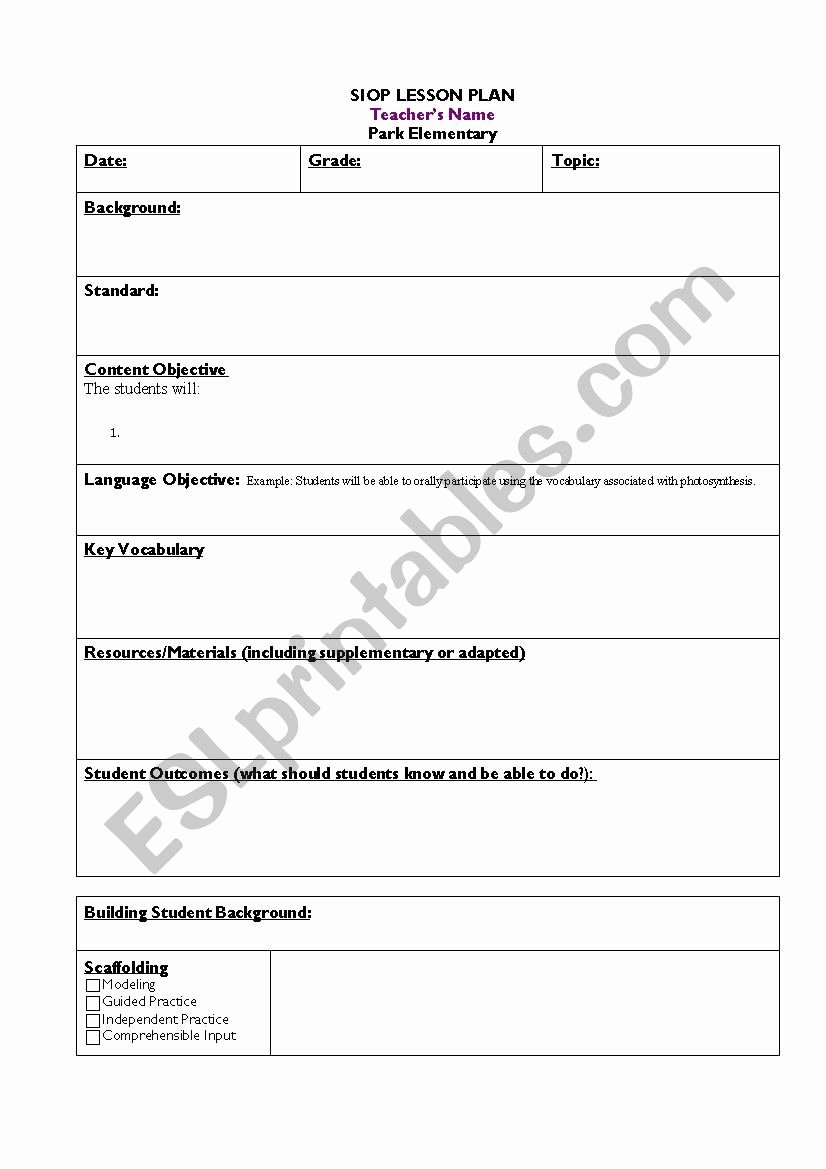 Siop Model Lesson Plan Template Beautiful Siop Lesson Template Esl Worksheet by Vhedges