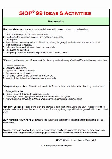 Siop Model Lesson Plan Template Fresh 12 Best Images About Siop Resources On Pinterest