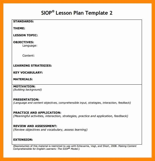 Siop Model Lesson Plan Template Fresh 9 10 Siop Lesson Plan Template