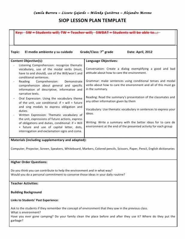 Siop Model Lesson Plan Template Inspirational Siop Lesson Plan