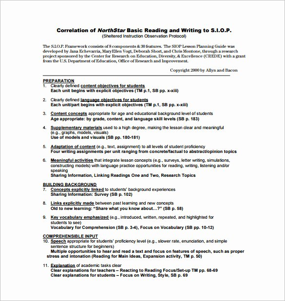 Siop Model Lesson Plan Template New First Grade Reading Lesson Plan Example