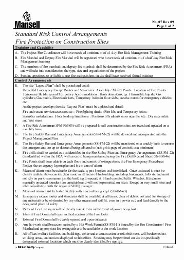 Site Safety Plan Template New Construction Phase Fire Site Safety Plan Template Health