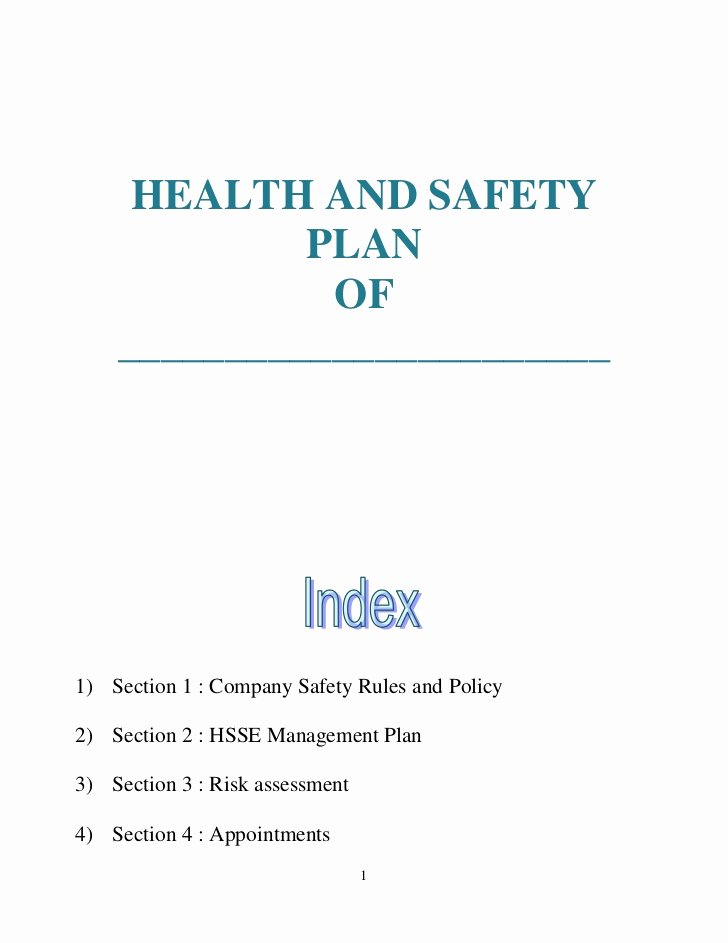 Site Safety Plan Template Unique Health and Safety Plan Generic