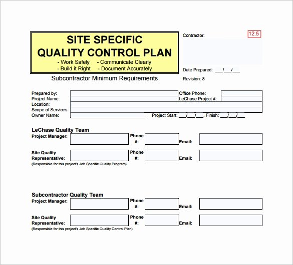 Site Specific Safety Plan Template Beautiful 7 Quality Control Plan Template Word Pdf