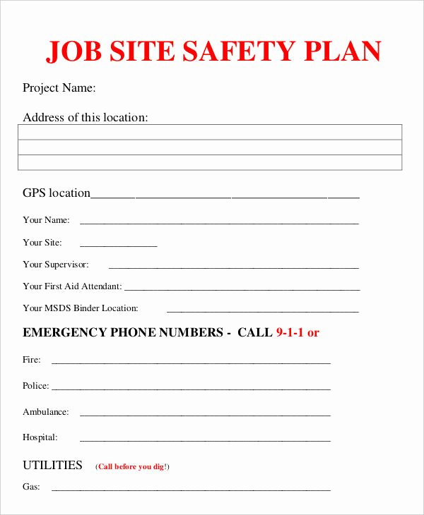 Site Specific Safety Plan Template Beautiful Job Plan Templates 10 Free Samples Examples format