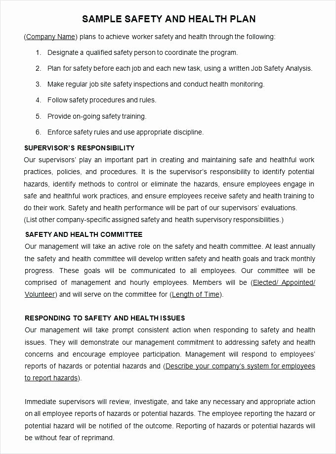 Site Specific Safety Plan Template Fresh Site Specific Safety Plan Template Site Specific Safety