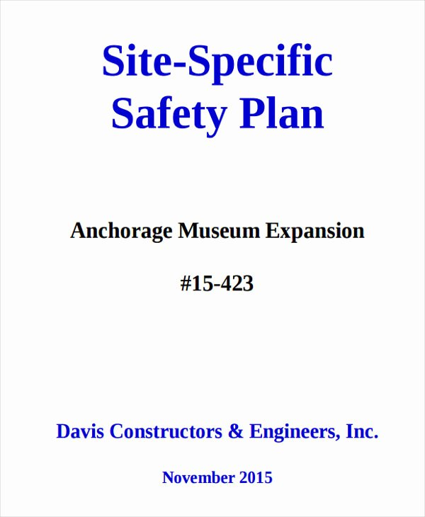 Site Specific Safety Plan Template Inspirational 29 Safety Plan Samples