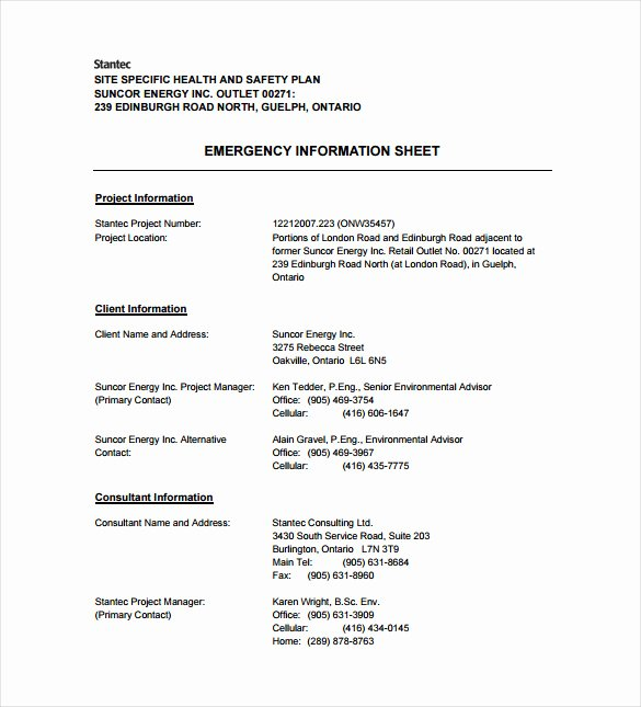 Site Specific Safety Plan Template Lovely 13 Health and Safety Plan Templates Free Sample
