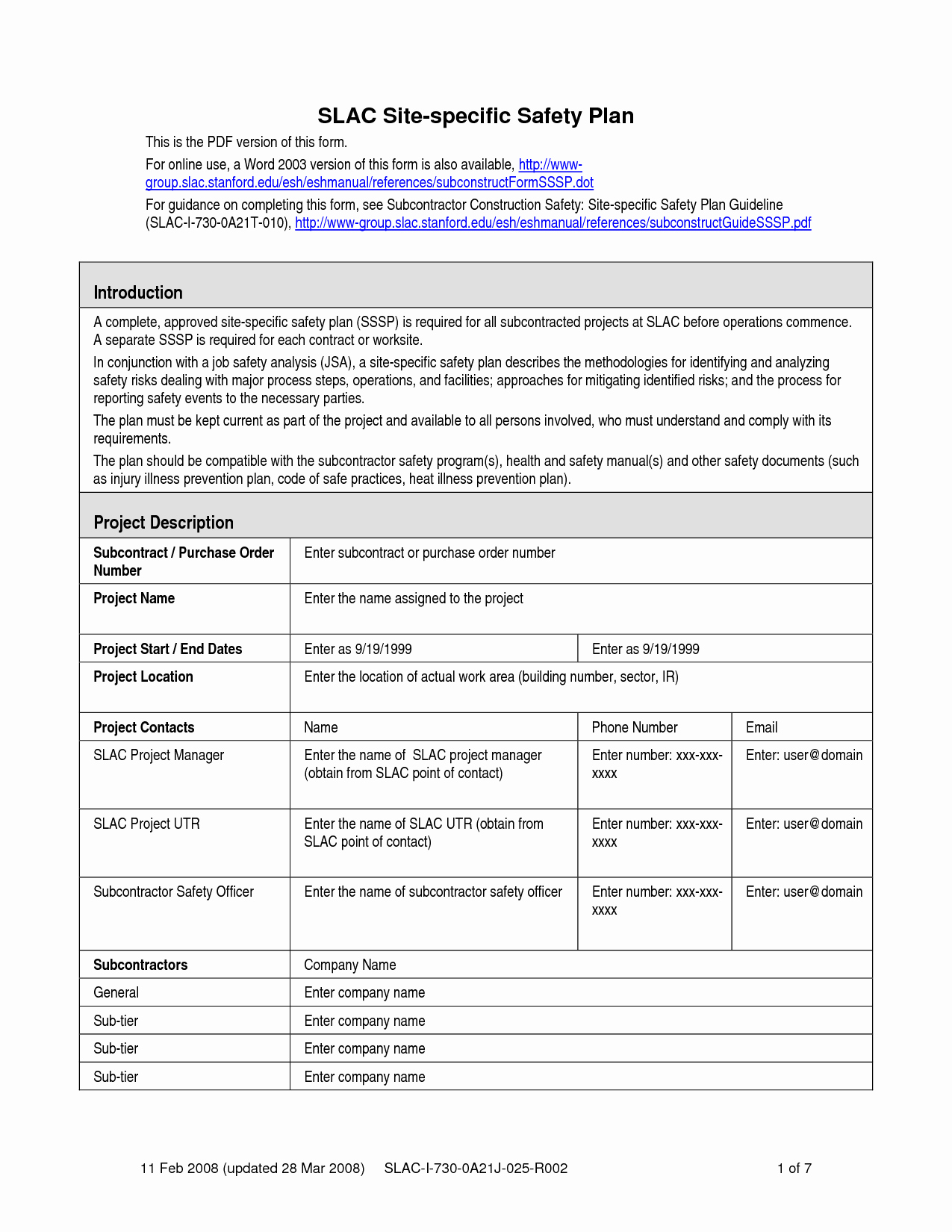 Site Specific Safety Plan Template New Safety Plan Template