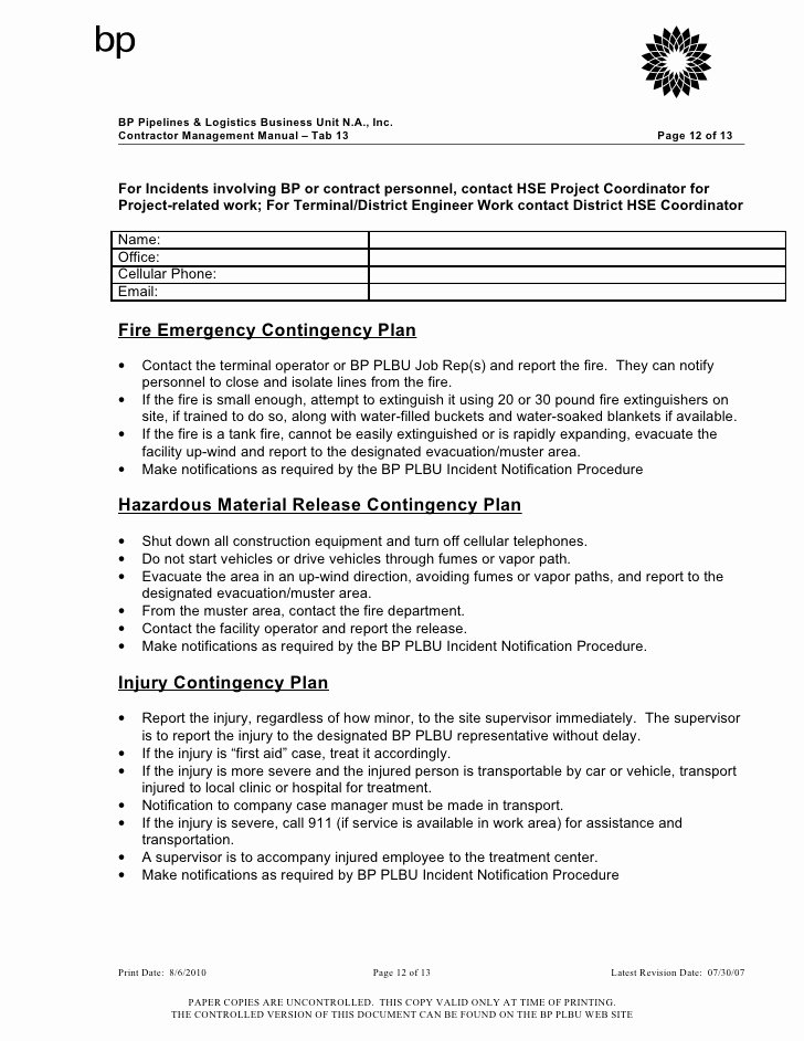 Site Specific Safety Plan Template Unique Contractor Safety Plan Template Bing Images