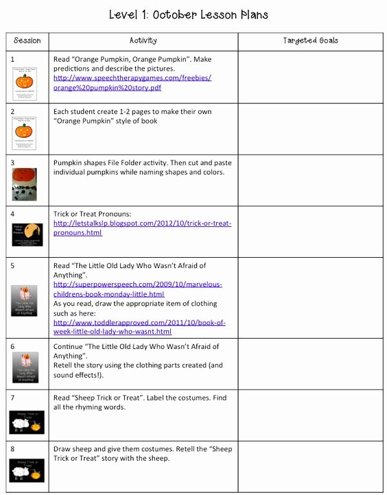 Slp Lesson Plan Template Beautiful October Lesson Plans