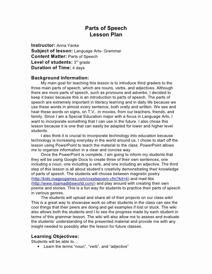 Slp Lesson Plan Template Fresh Parts Of Speech Lesson Plan Info