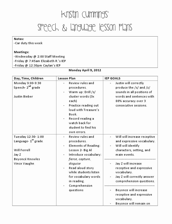 "Slp Lesson Plan Template Fresh ""principal Approved"" Quick and Easy Lesson Plan Sample"