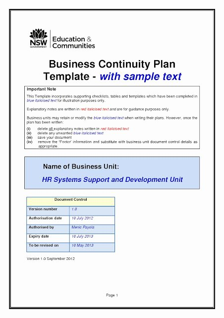 Small Business Continuity Plan Template Best Of Business Continuity Plan Templatesml