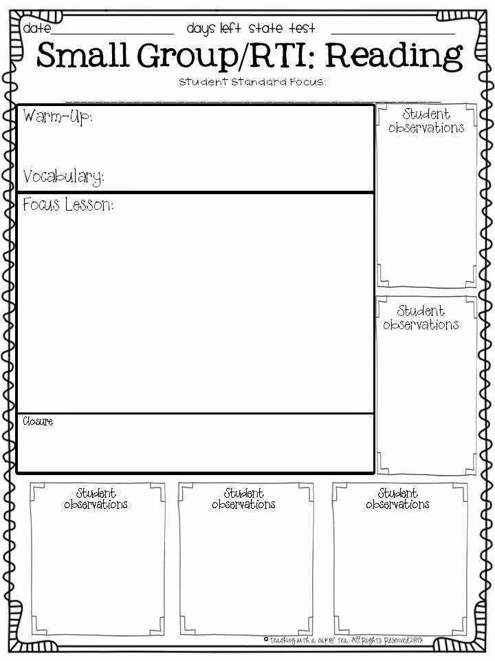 Small Group Lesson Plan Template Awesome Teaching with A Cup Of Tea Small Group & Interventions