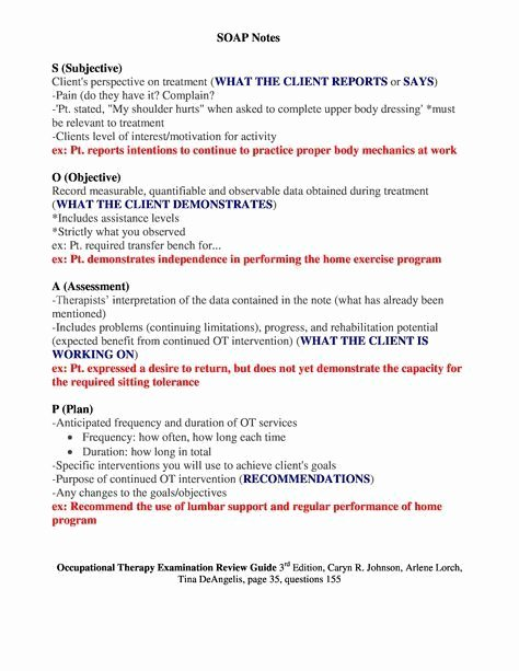 Soap Charting Examples Awesome Sample Occupational therapy soap Note Google Search
