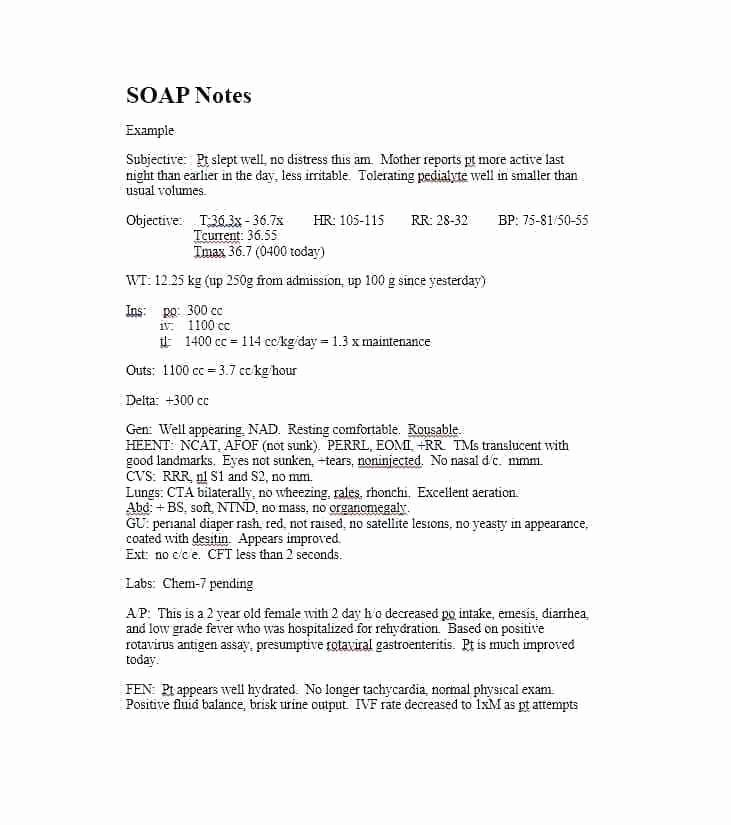 Soap Charting Examples Best Of Sample Notes