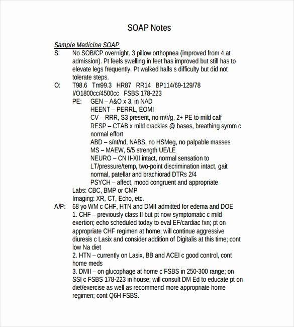 Soap Charting Examples Inspirational soap Note Template – 9 Free Word Pdf format Download