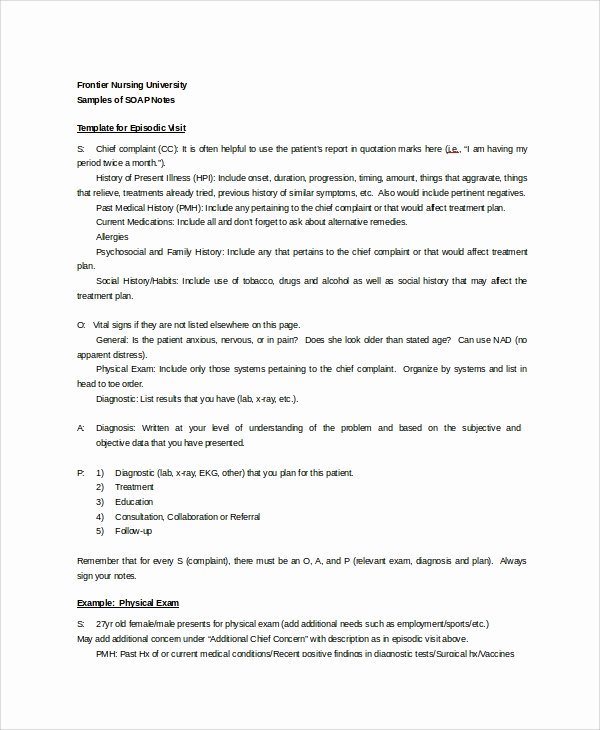 Soap Charting Examples Luxury 15 soap Note Examples Free Sample Example format