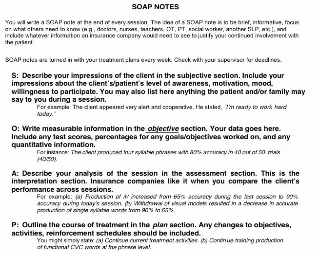 Soap Charting Examples New Sample Occupational therapy soap Note Google Search