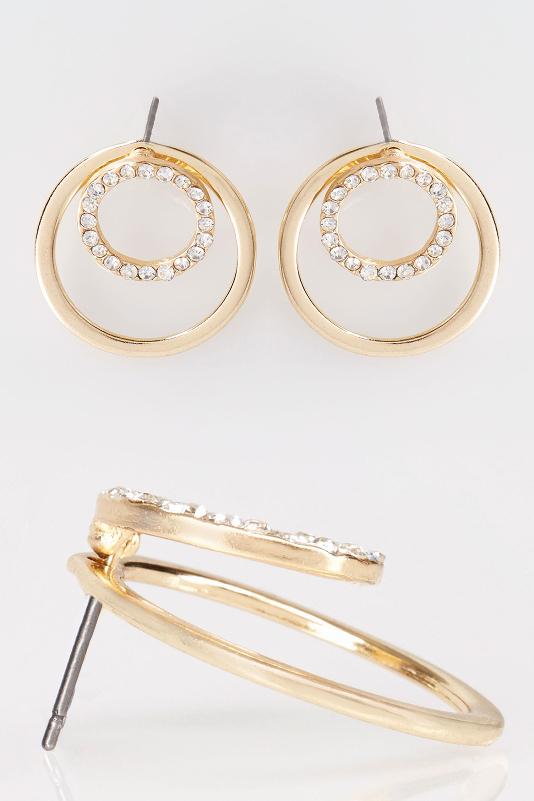 Social Security Awards Letter 2015 Beautiful Gold Diamante Double Circle Earrings