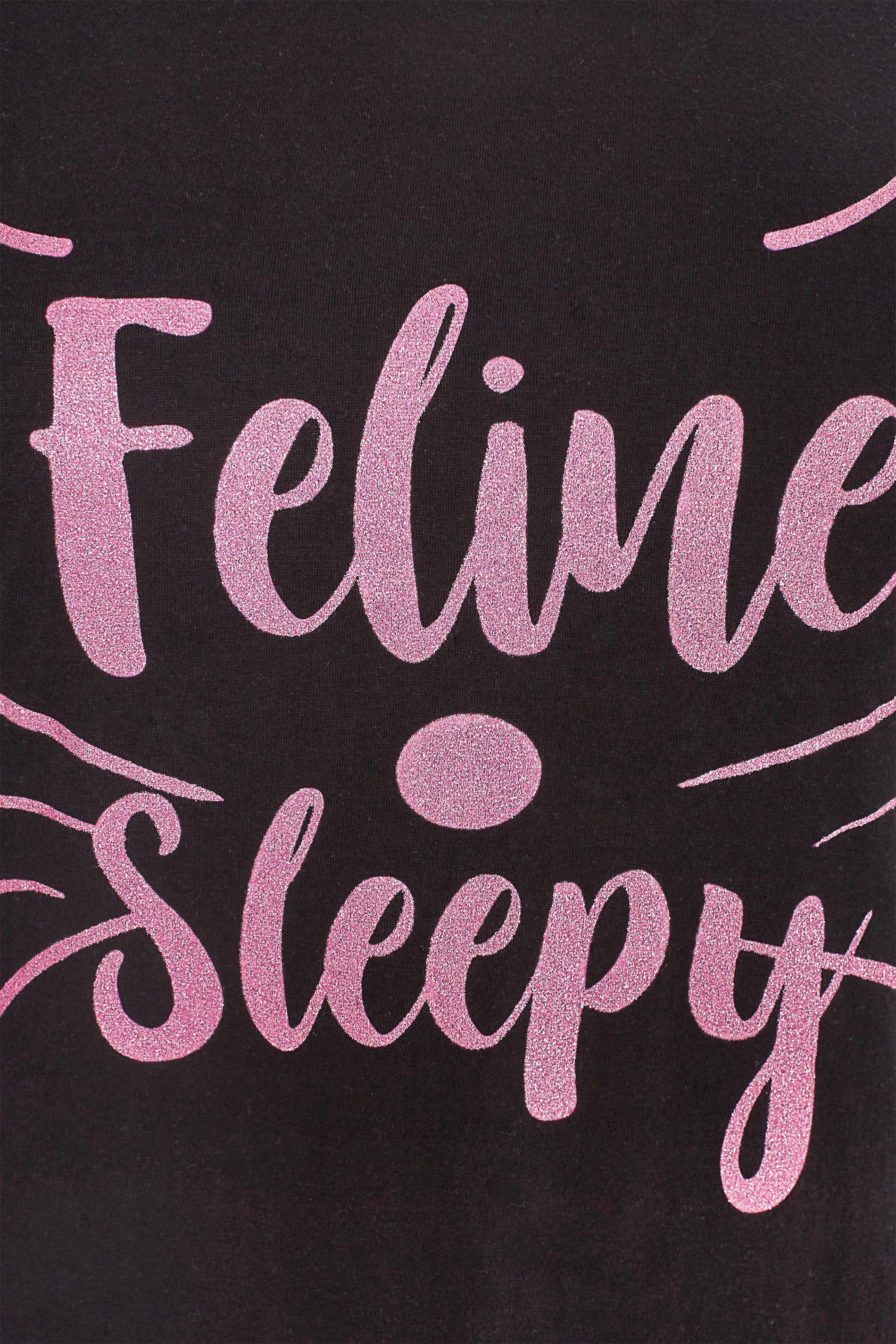 nachthemd mit logodruck schwarz p