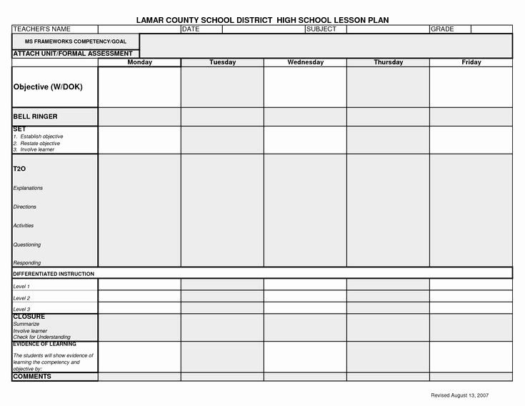 Social Studies Lesson Plan Template Best Of Middle School Lesson Plan Template Pdf Lesson Plan