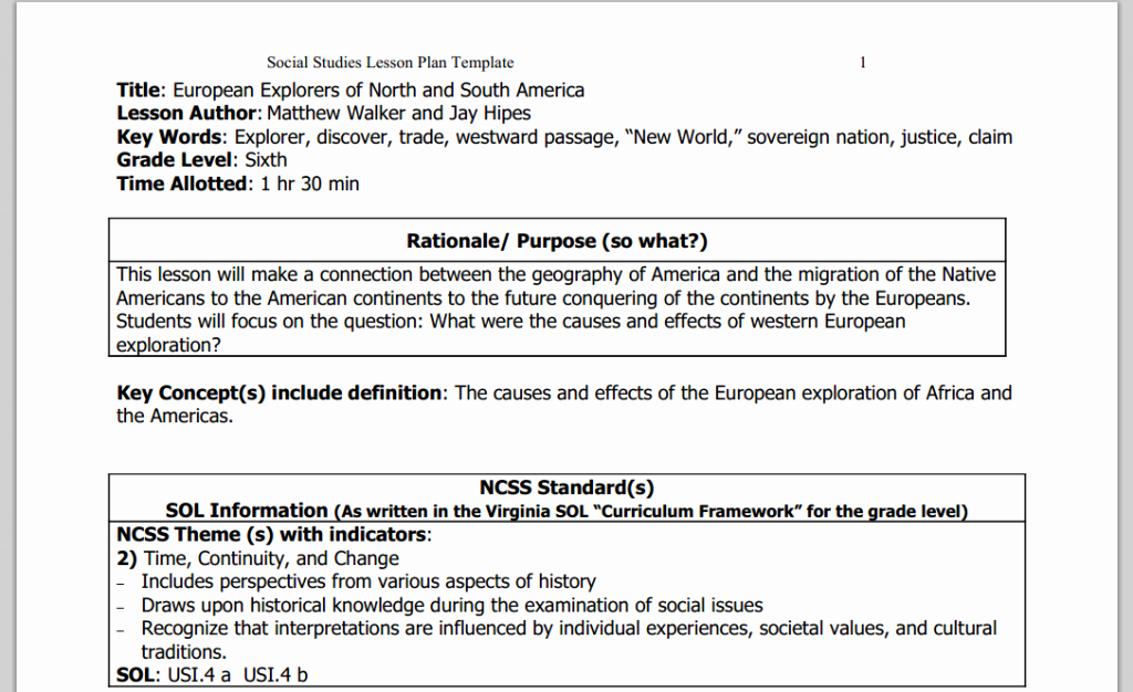 Social Studies Lesson Plan Template Elegant social Stu S Lesson Plan Template Word Lesson Plan