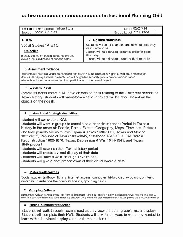 Social Studies Lesson Plan Template Inspirational Ipg Lesson Plan Mrs Ruiz S 7th Grade social Stu S Class